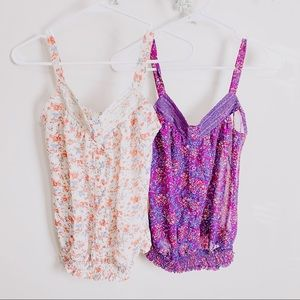 KIRRA 2 Floral Tank Top Bundle Purple Ivory Small